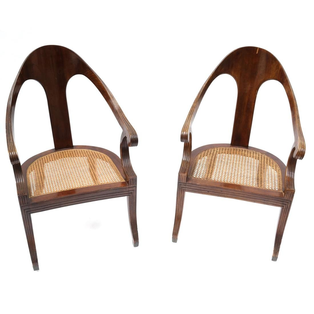 Regency-Style Scoop-Form Chairs.