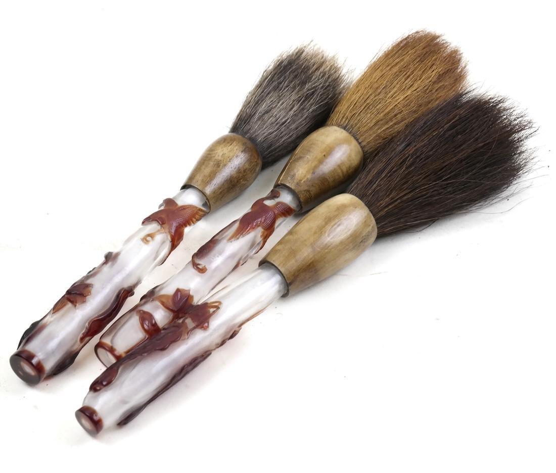 Three Asian Peking Glass Paint Brushes