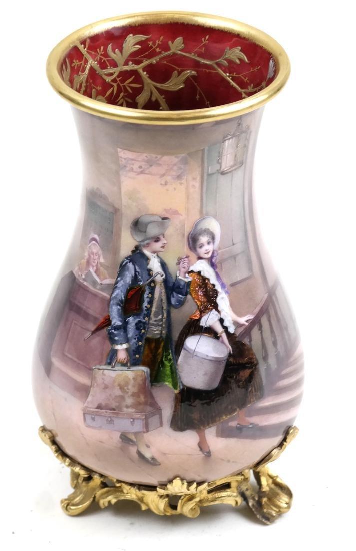 French Porcelain and Enamel Scenic Vase