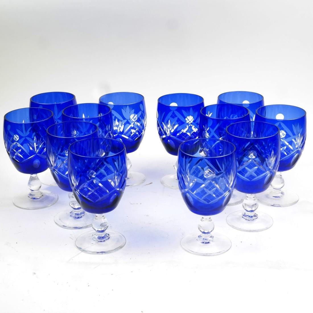 Stemware, Set of 12 Cobalt Blue Glasses