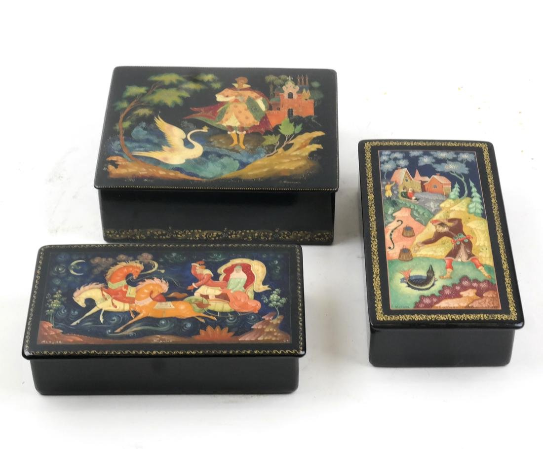 Three Russian Decorated Hinged Boxes