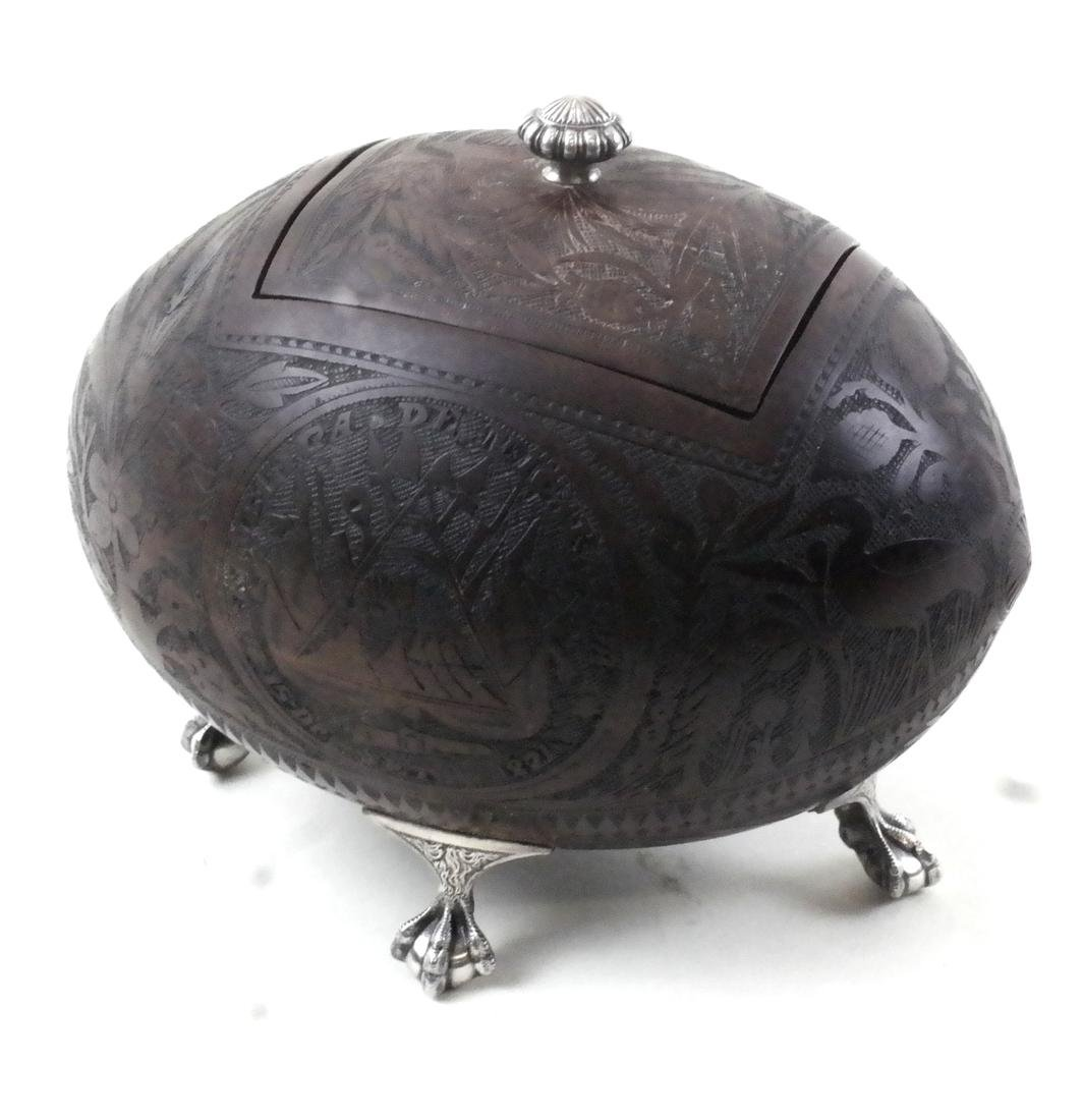 Coconut and Silver Box with Lid by Gorham