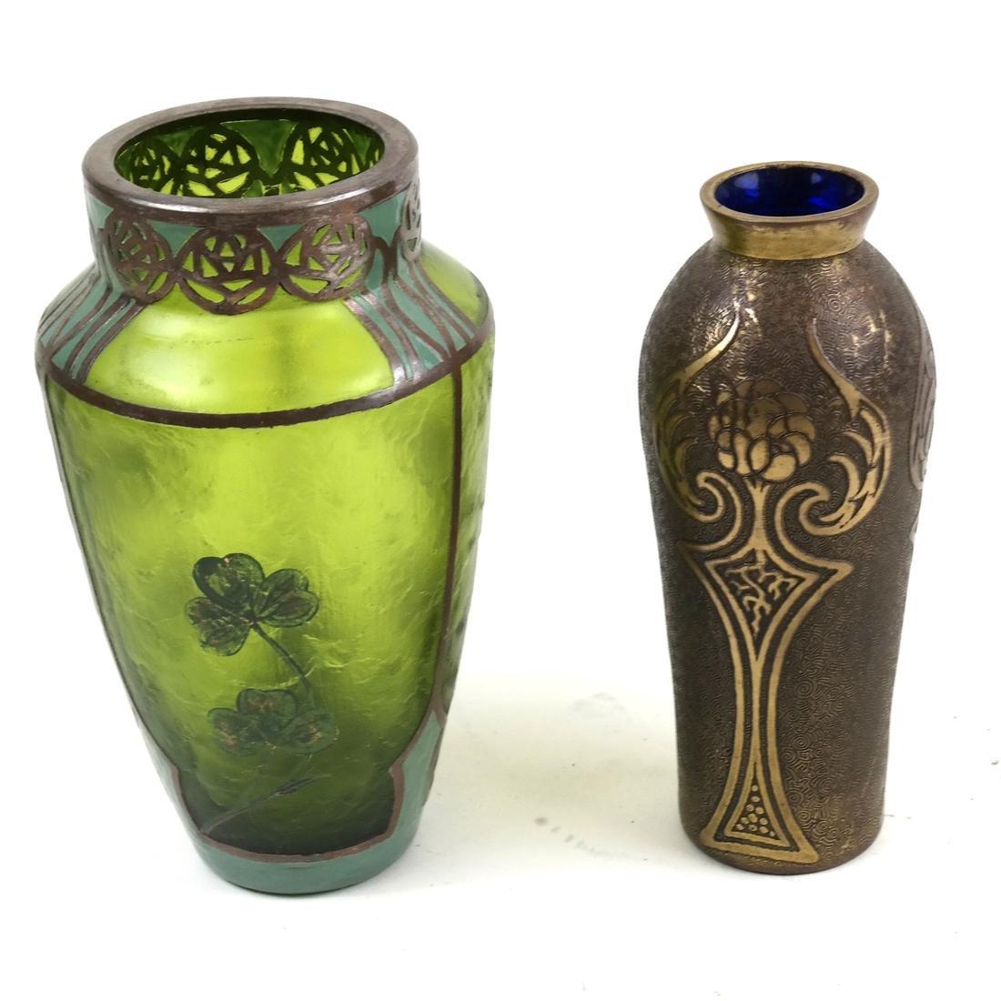 Two Art Deco Vases; Mixed Metal, Overlay