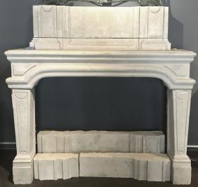 18th Century French-style Limestone Fireplace