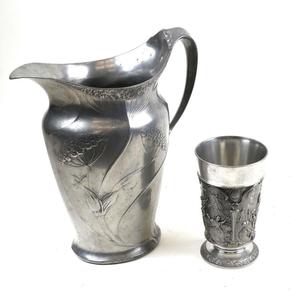 Pewter Pitcher, German Metal Vase - Feinzinn