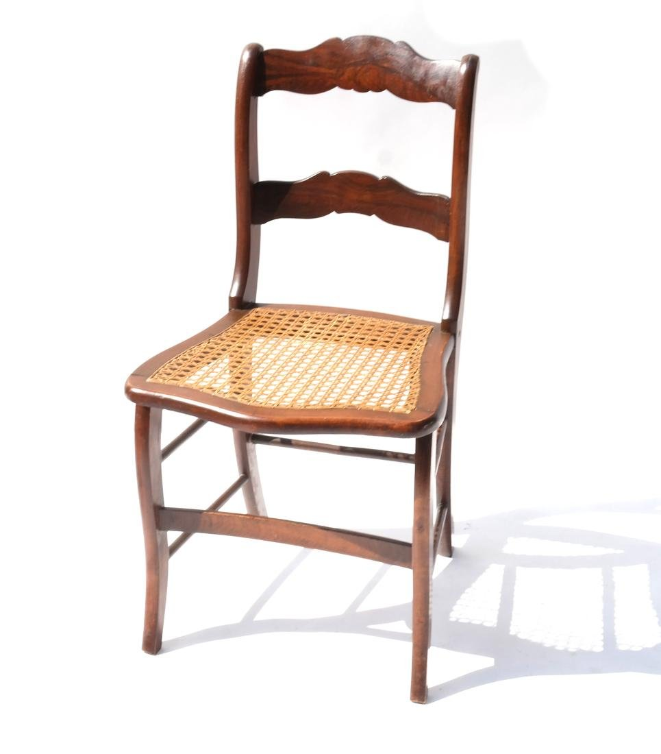 Decorated Maple and Caned Side Chair
