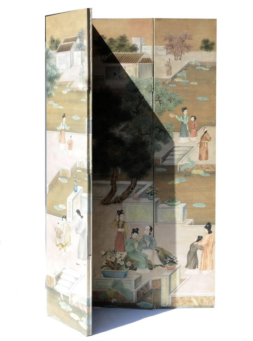 Chinese Chinoiserie Four-Panel Screen