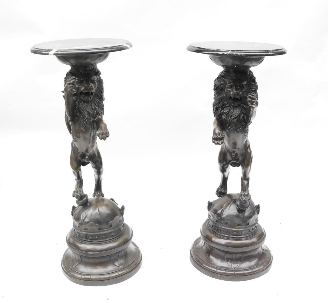Pair of Bronze Lion Marble Top Pedestals