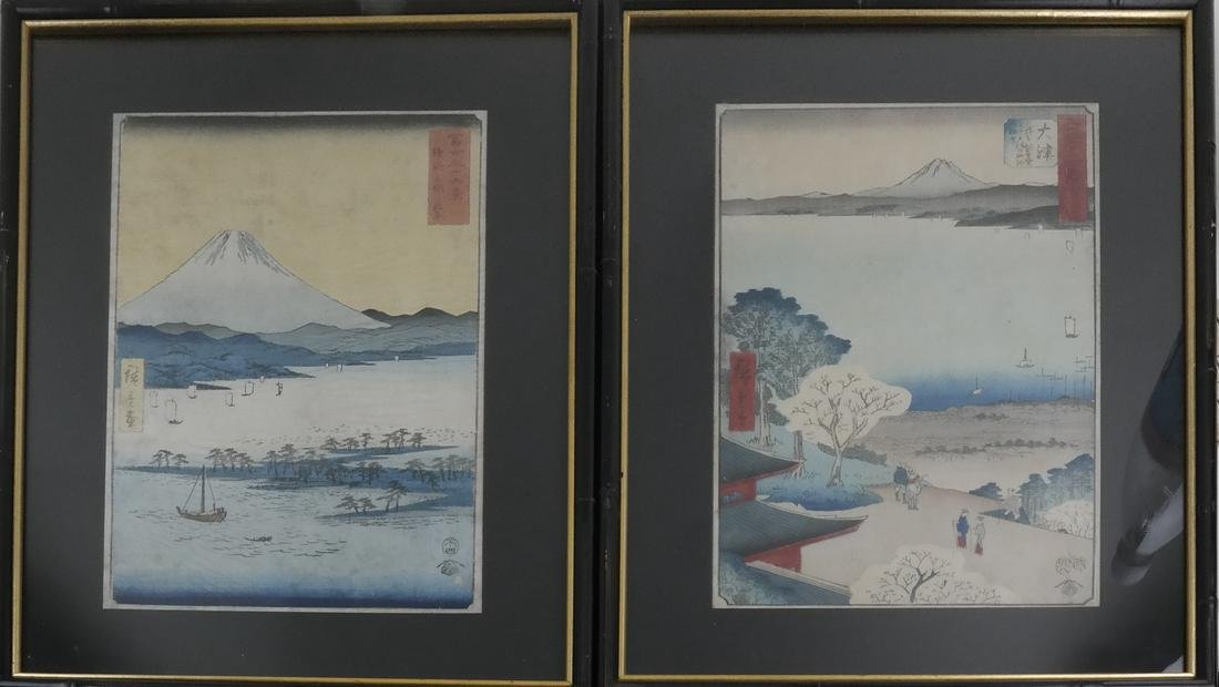 Hiroshige Three Japanese Wood Block Prints