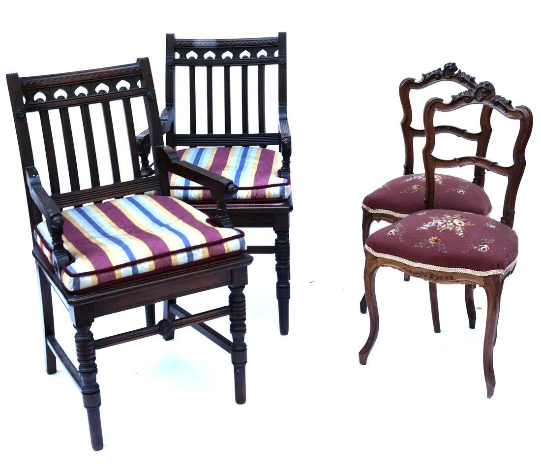 Two Pair of Victorian Chairs