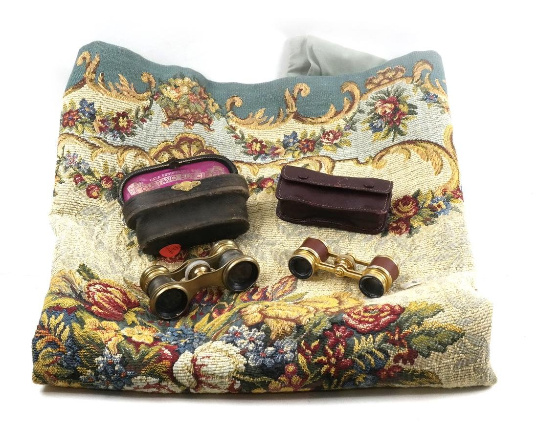 French Tapestry and Two Opera Glasses