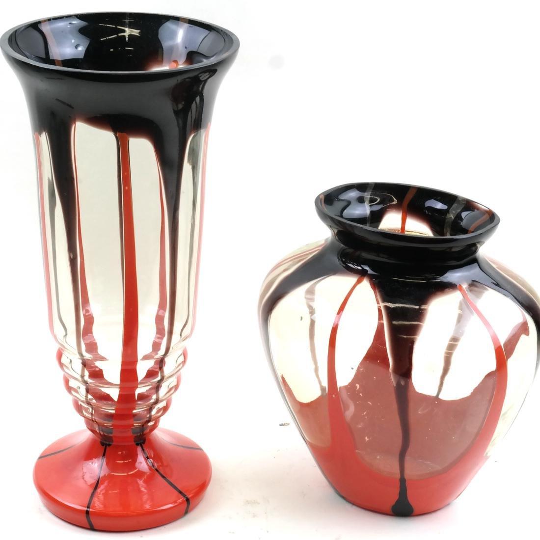 Two Czechoslovakian Art Glass Vases