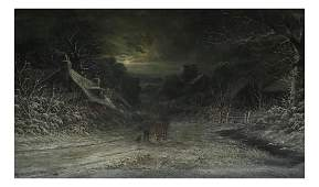 J. McIntyre, Winter Scene- Oil on Canvas