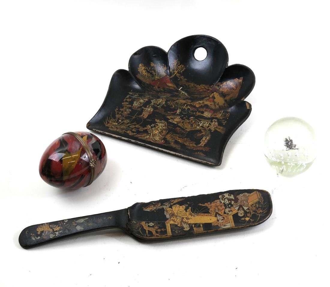 Group of Lacquerware and Glassware, 4 items