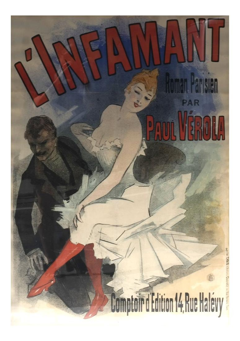 "Jules Cheret ""L'Infamant"" French Theatrical Poster"