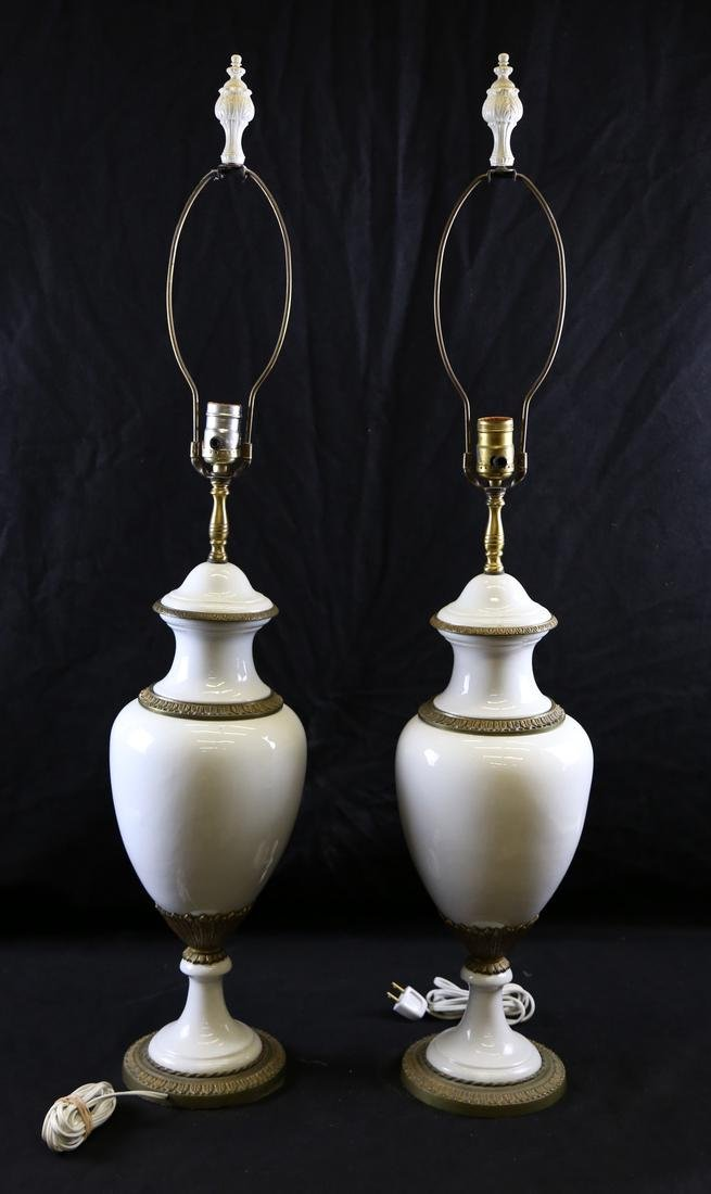 Pair of French White Porcelain Lamps