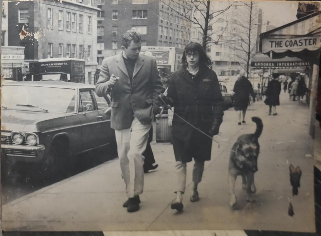 Large Black and White Print: Couple and a Dog