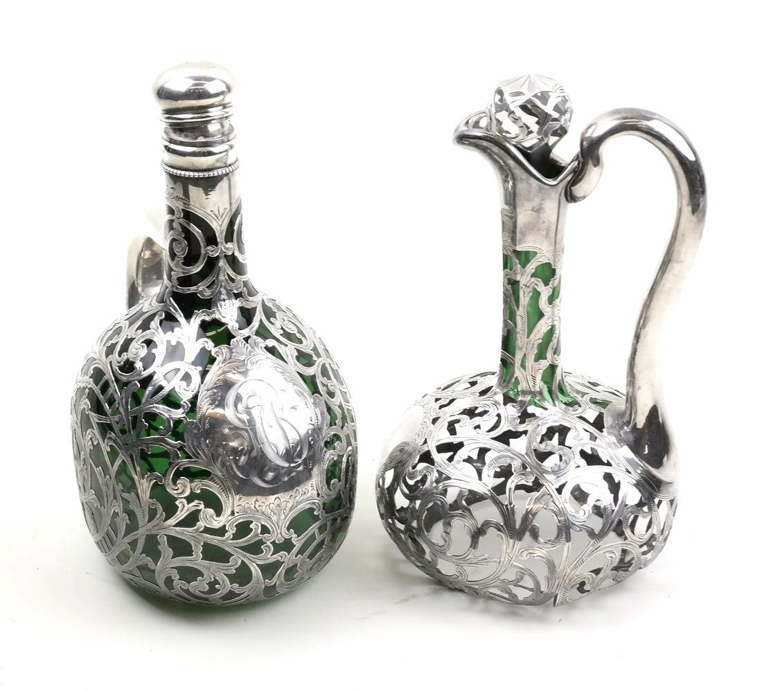 2 Partial Silver Overlay Decanters
