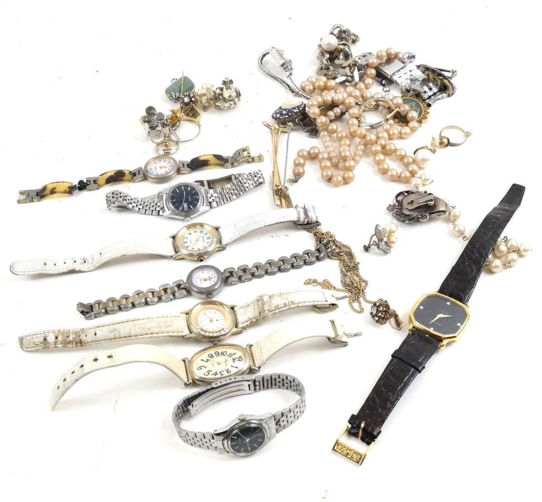 Vintage Lady's Wrist Watches & Assorted Costume Jewelry