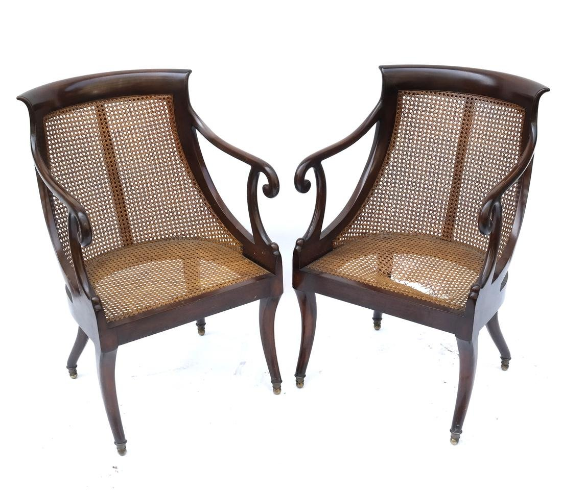 Pair of Regency-Style Caned Armchairs