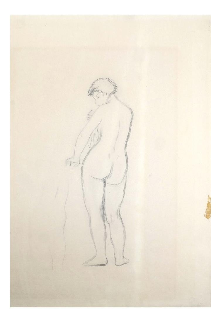 "Pierre A. Renoir, ""Bather Standing..."" - Pencil Sketch"
