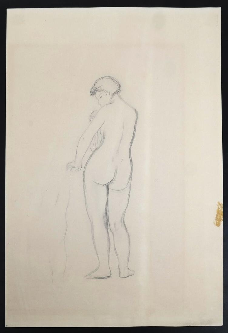 "Pierre A. Renoir, ""Bather Standing..."" - Pencil Sketch - 2"