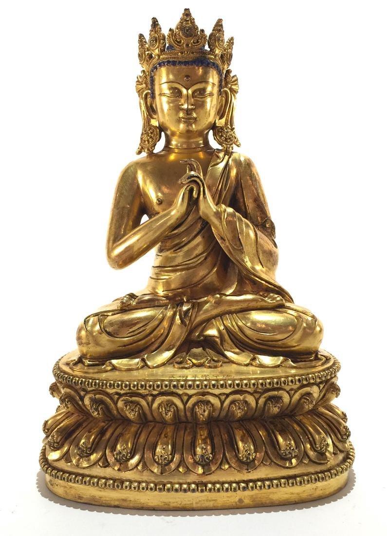 Chinese - Tibetan Gilt Bronze Buddha Statue with Crown