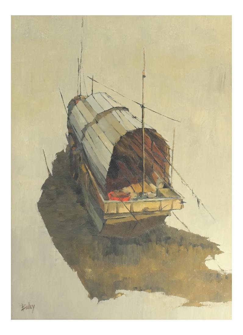 "Bailey ""Sampan With Red Bucket"" - Oil on Canvas"