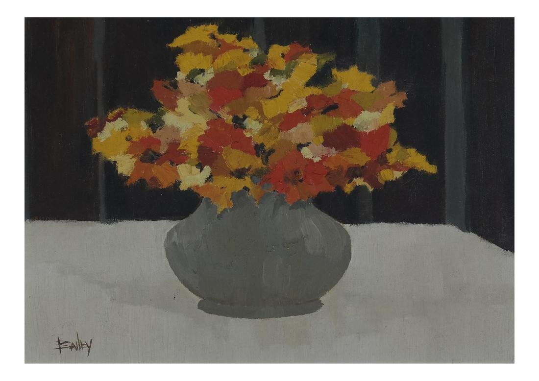 """Bailey """"Red, Yellow, Flowers"""" Oil on Canvas."""