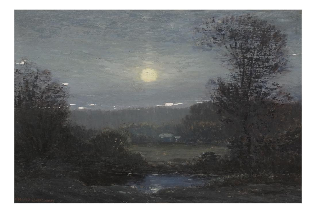 "Leonard Ochtman ""Moonrise"" Oil on Panel"