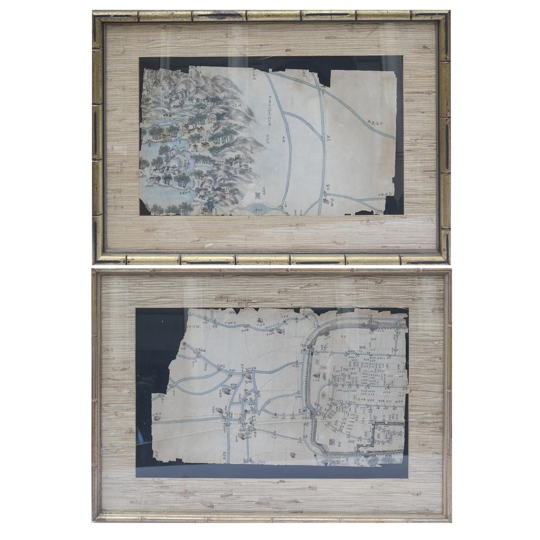 Two Framed As is Chinese Maps