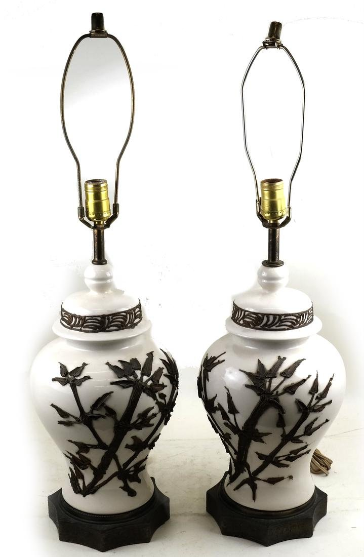 Pair of Modern Chinese Ceramic Table Lamps