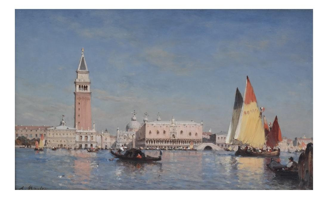 """Amedee Rosier """" The Grand Canal"""" Oil on Panel"""