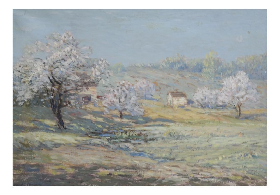 "Leonard Ochtman ""Apple Blossoms"" Oil on Canvas"