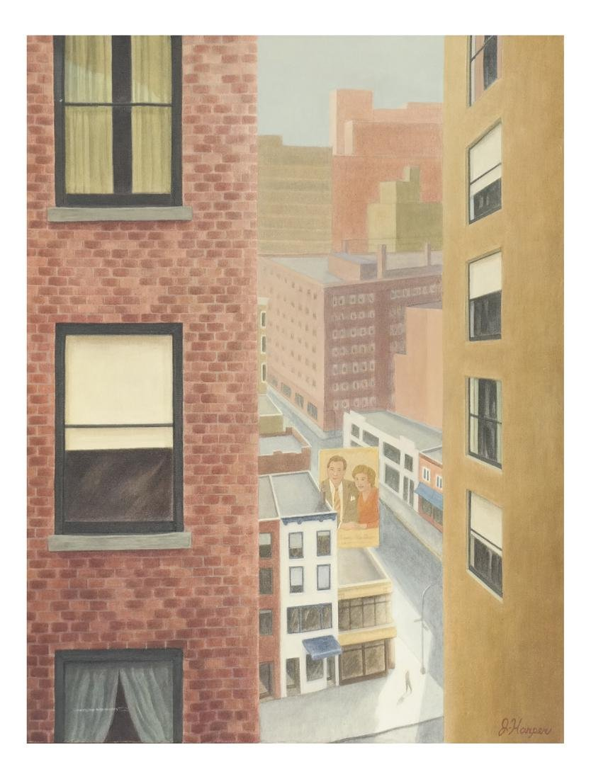 "Judith Harper ""City Windows"" Oil on Canvas"