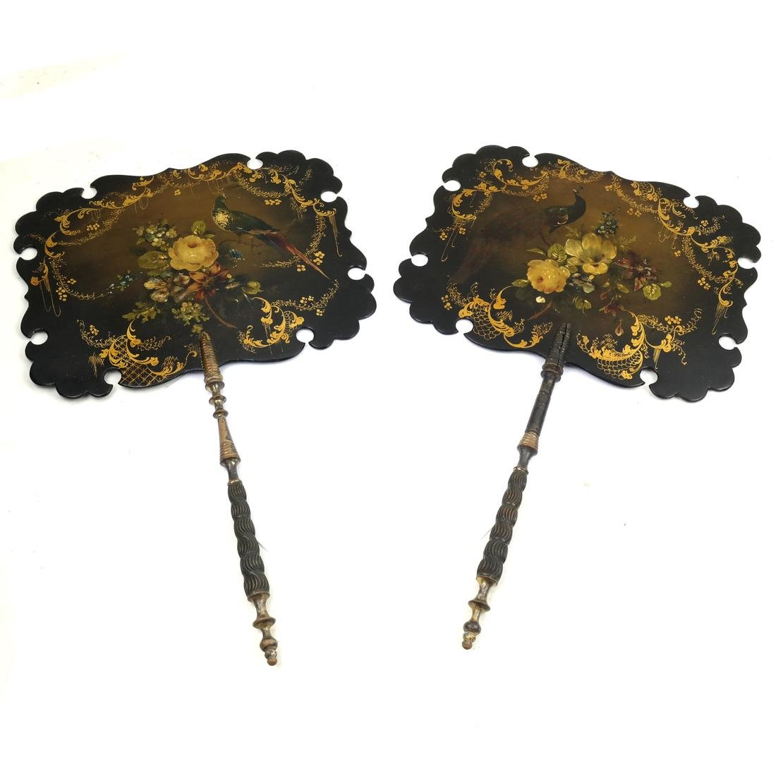 Two 19th Century Lacquered Hand Screens