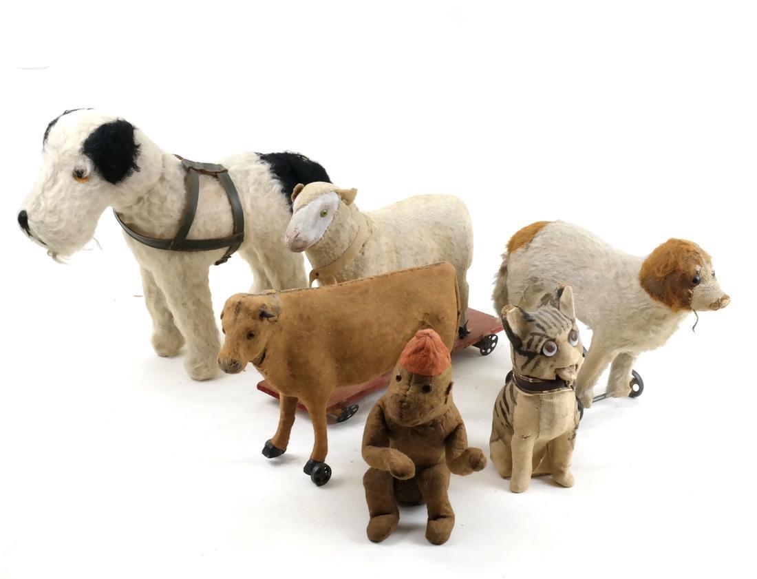 Six Plush Toy Animals