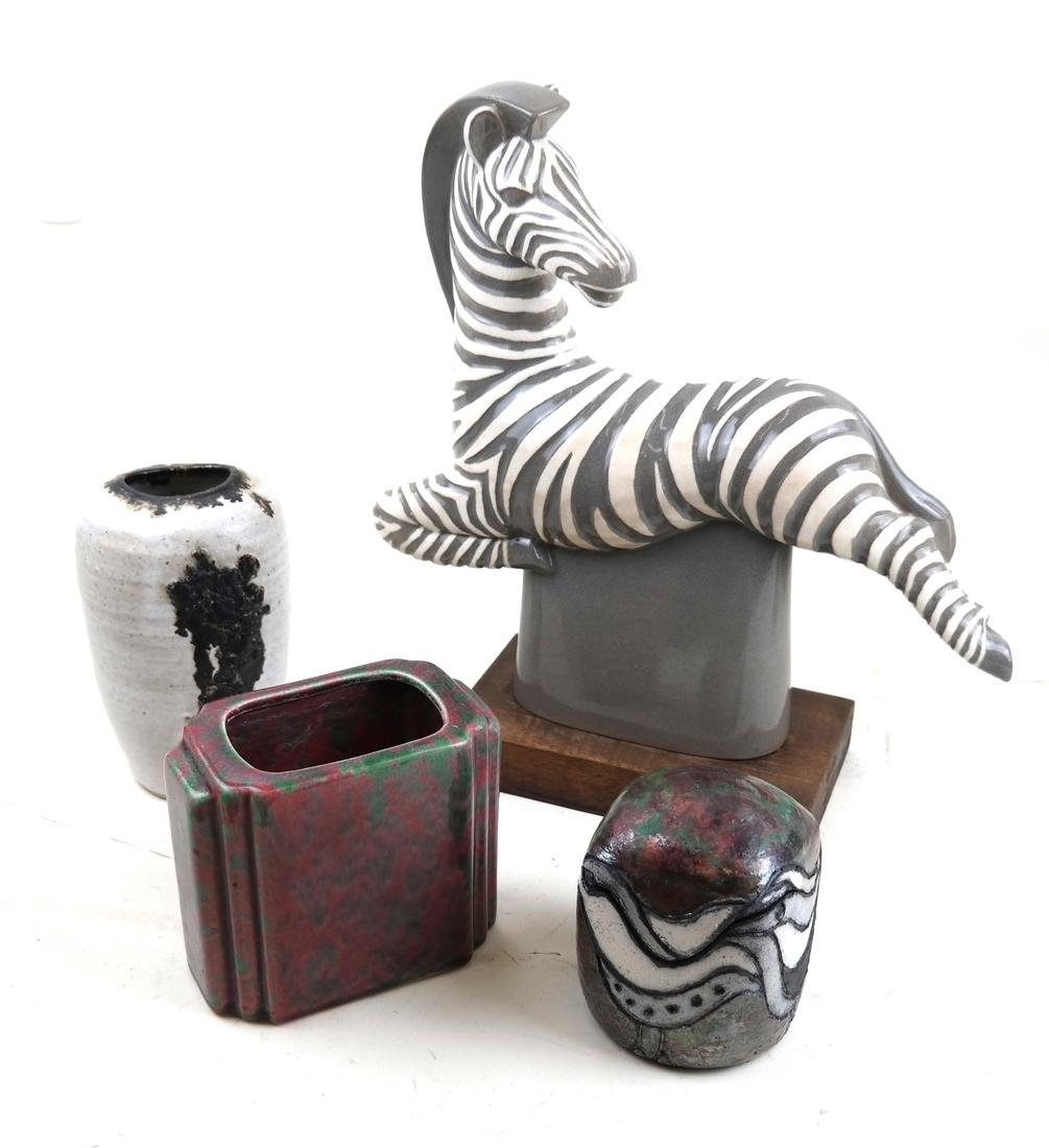 Ceramic Group With A Zebra and Three Vessels