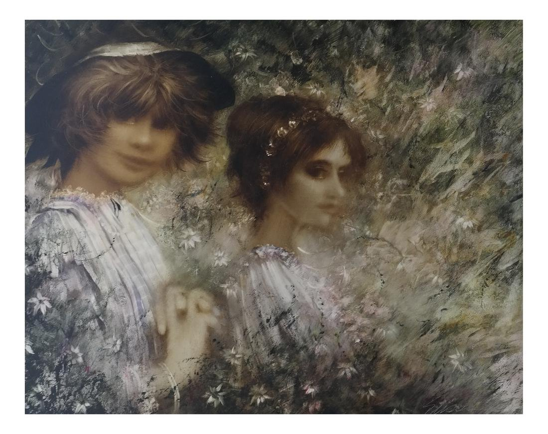 Alfred Sussi, Two Girls - Oil on Board