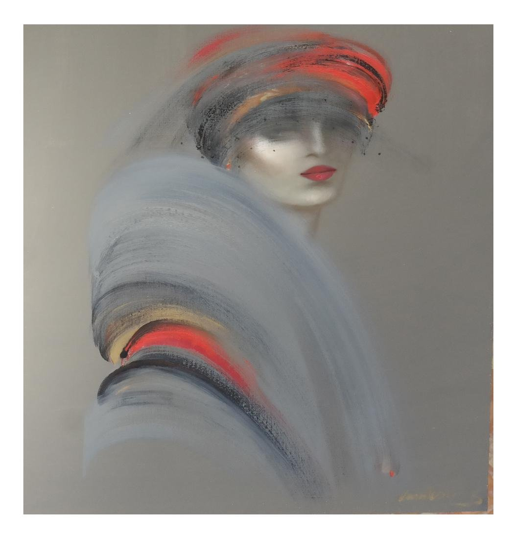 Woman in Red, Oil on Canvas