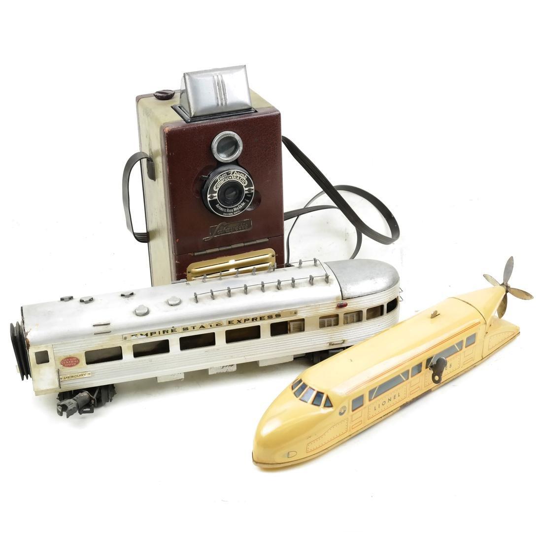 3 Vintage Pieces - 2 Model Trains, Camera