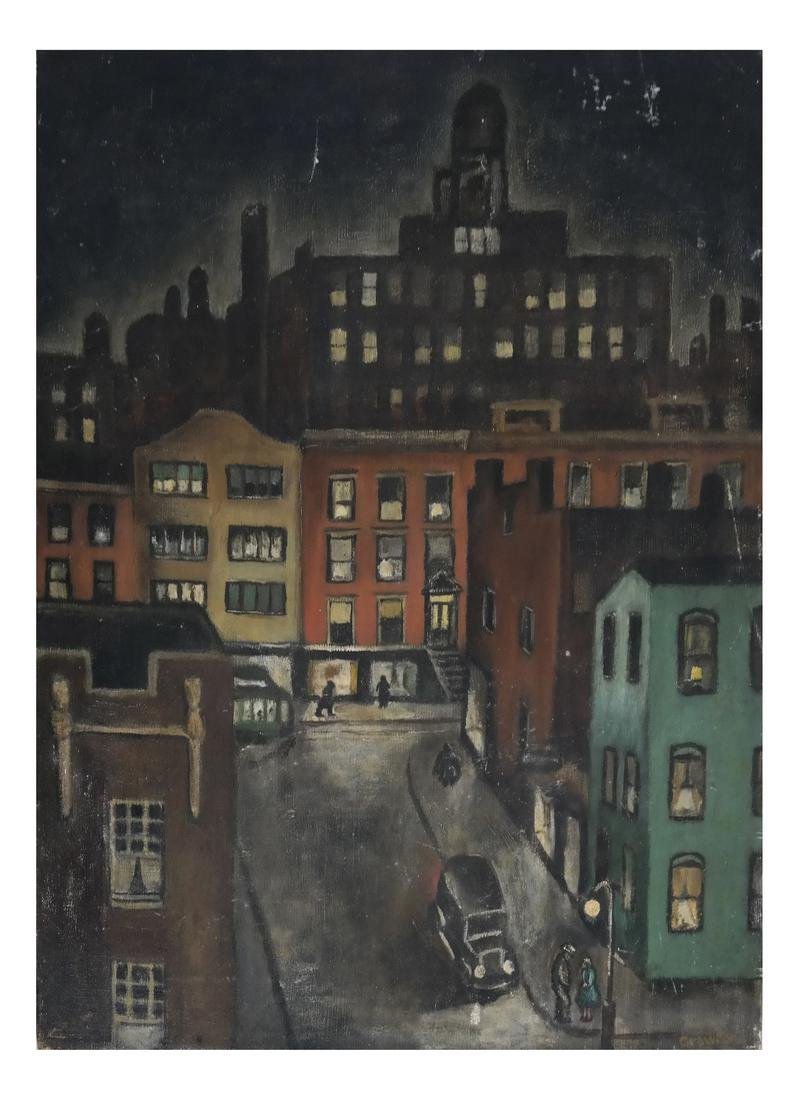 Crawford City Street Scene, Oil on Canvas