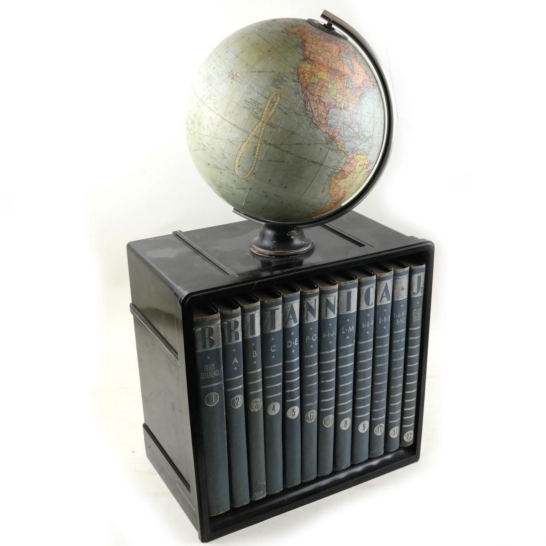 1930's Globe with Encyclopedia Britannica