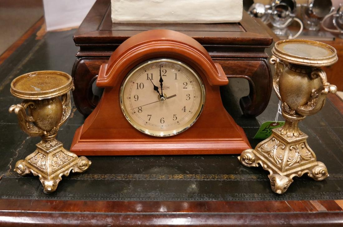 Arch-Form Mantel Clock & Two Candlesticks