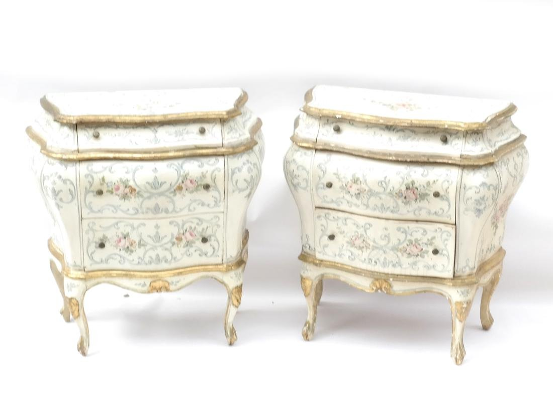 Pair of Decorated Bombe Venetian Commodes