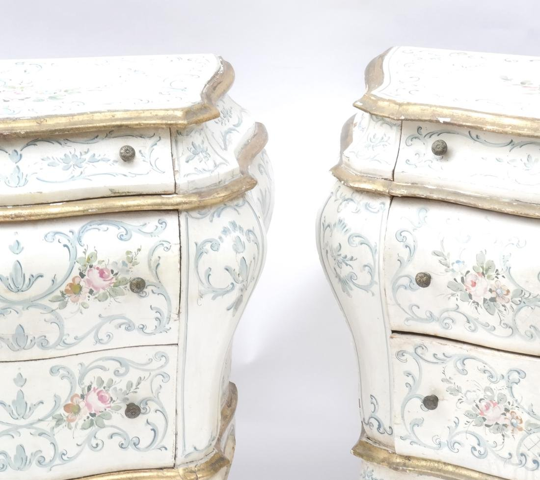 Pair of Decorated Bombe Venetian Commodes - 2