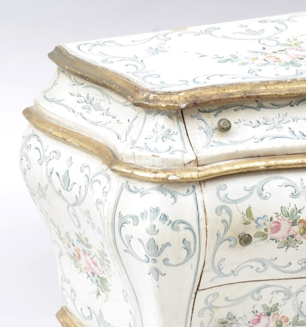Pair of Decorated Bombe Venetian Commodes - 4