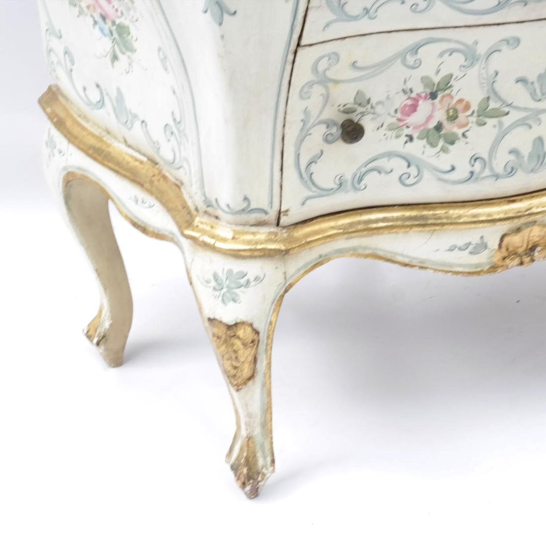 Pair of Decorated Bombe Venetian Commodes - 5