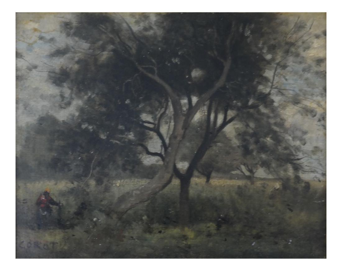 Corot, Figure Near Tree - Oil on Canvas