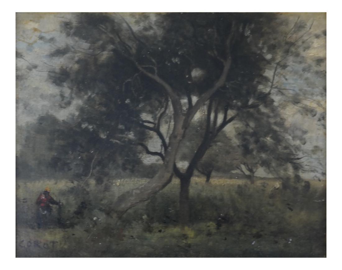 Corot, Figure Near Tree - Oil on Canvas